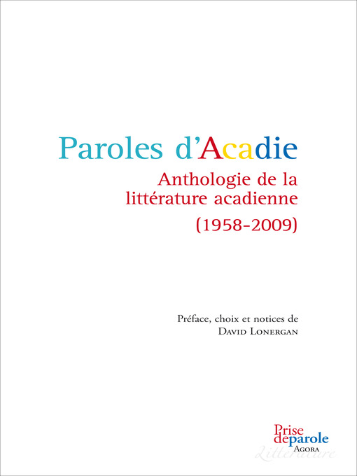 Cover of Paroles d'Acadie